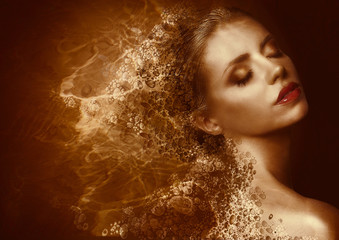Golden Splatter. Futuristic Woman. Bronzed Painted Skin. Fantasy