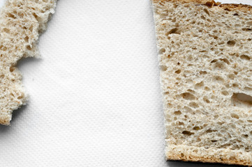 Cutted and ripped bread background