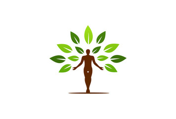 human and tree eco vector logo