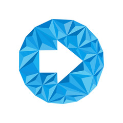 blue arrow icon (pointer) by triangles, polygon