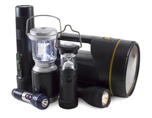 Group of flashlights isolated