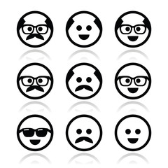 Bald man with mustache and in glasses faces icons set