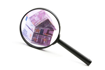 Real estate concept with Euro bank notes