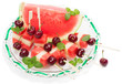 dish with fresh fruit  salad (watermelon, melon, cherries,  min