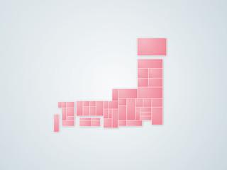 日本地図 ピンク