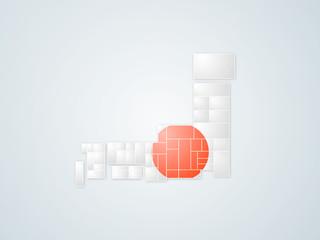日本地図 白色(日本国旗)