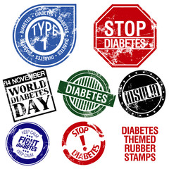 Diabetes themed rubber stamps