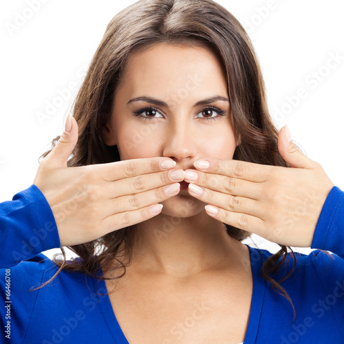 Young woman covering mouth, isolated
