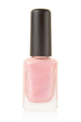 Pink nail polish bottle on white, clipping path