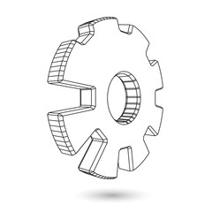 3d wire gear symbol .