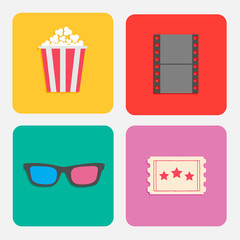 3D glasses ticket popcorn film. Cinema icon set  flat dsign