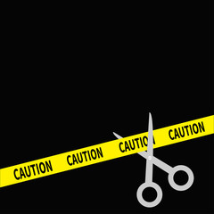 Scissors cut caution ribbon on the right. Flat design style.