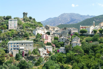 The village of Nonza on Corsica island