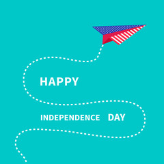 Paper plane with dash line. Independence day 4th of July.