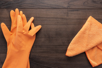 orange rubber cleaning gloves