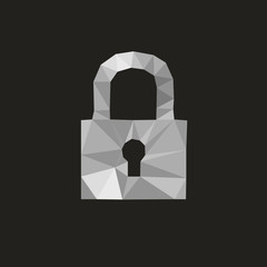 lock icon isolated against a black background by triangles