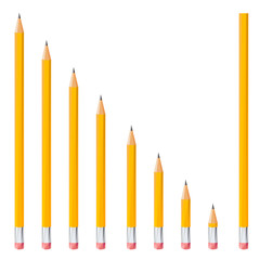 sharpened pencils by triangles, polygon vector illustration