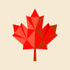 red  maple-leaf by triangles, polygon vector illustration