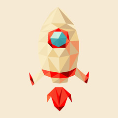 rocket start by triangles, polygon vector illustration