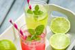Zwei Gläser mit eisgekühlter Limonade - 66468751