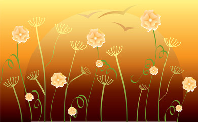 abstract background with flowers, sunset and birds, vector