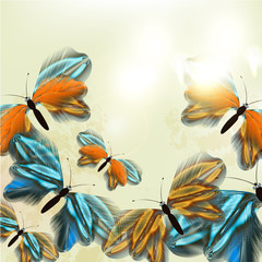Fashion  floral background with butterflies