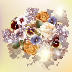 12)	Fashion vector background with flowers in vintage style