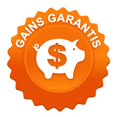 gains d'argent garantis sur bouton web denté orange