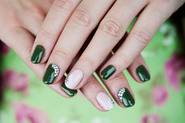 decorated nails / Nails decorated with lacquer hybrid