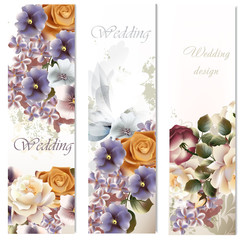 Wedding cards set with flowers