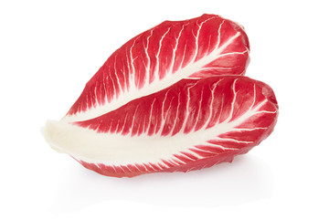 Radicchio leaves, red salad on white, clipping path