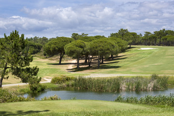 Landscape of a golf course on the coastline of Portugal