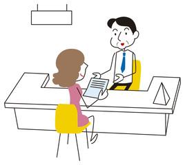 書類を提出する女性