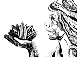 woman with lotus flower, black ornate pattern vector