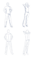 people artistic sketch with shading vector