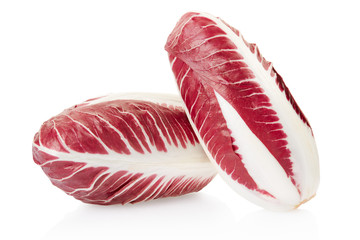 Radicchio, red salad heads on white, clipping path