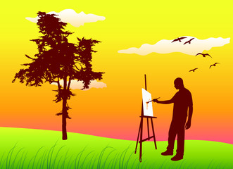 man sanding on summer lawn and painting, vector