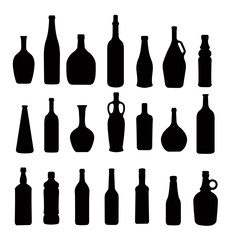 many different bottles, silhouette vector