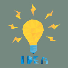 light bulb idea by triangles, polygon vector illustration
