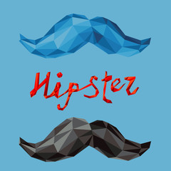 hipster mustache by triangles, polygon vector illustration