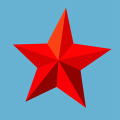 red star by triangles, polygon vector illustration
