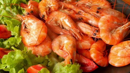 Cooked Tiger Prawns served on the Plate with Vegetables. Video