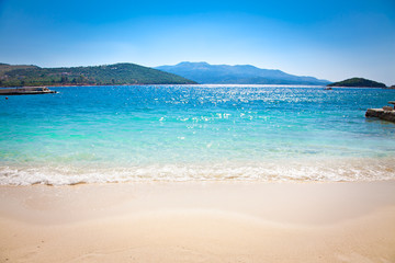 Beautiful sandy Ksamil beach,  Albania.