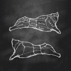 Meat cutting. Vector format