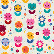 Happy cartoon flowers nature seamless pattern