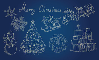 christmas background with holiday items vector