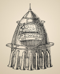 Spaceship illustration  vintage style, engraved