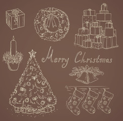 many christmas items vector