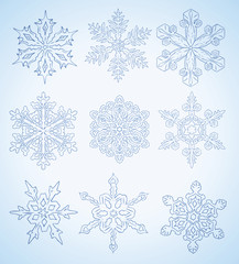 many different snowflake vector