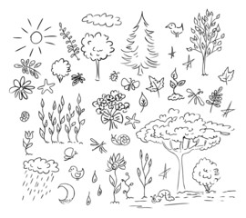 nature and environment vector set